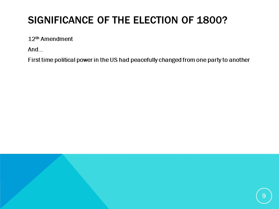 SIGNIFICANCE OF THE ELECTION OF 1800.