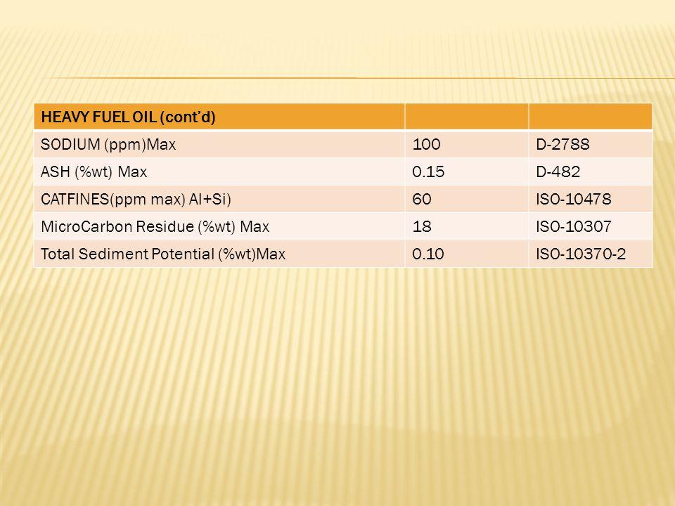 HEAVY FUEL OIL (cont'd) SODIUM (ppm)Max100D-2788 ASH (%wt) Max0.15D-482 CATFINES(ppm max) Al+Si)60ISO-10478 MicroCarbon Residue (%wt) Max18ISO-10307 Total Sediment Potential (%wt)Max0.10ISO-10370-2