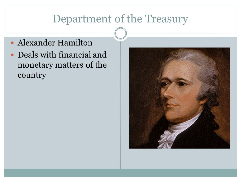 Department of the Treasury Alexander Hamilton Deals with financial and monetary matters of the country