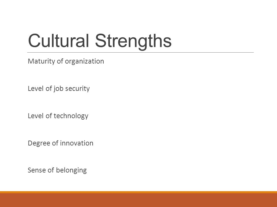 Cultural Strengths Maturity of organization Level of job security Level of technology Degree of innovation Sense of belonging