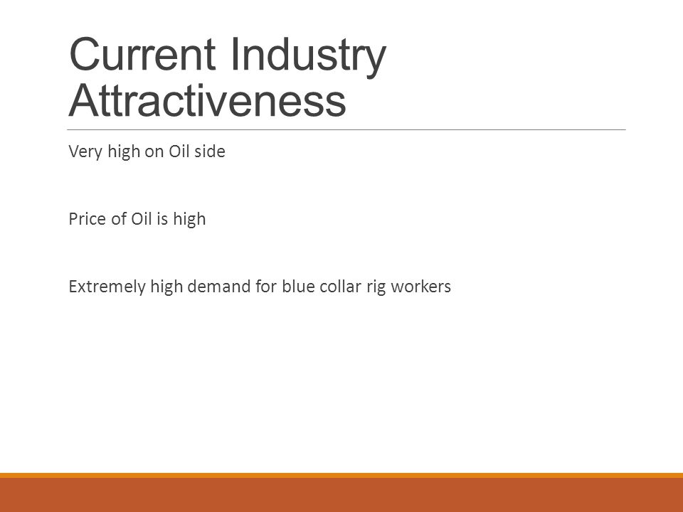 Current Industry Attractiveness Very high on Oil side Price of Oil is high Extremely high demand for blue collar rig workers