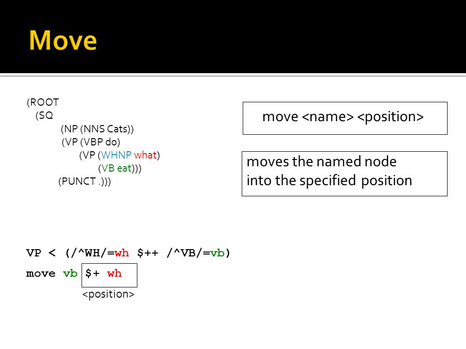 (ROOT (SQ (NP (NNS Cats)) (VP (VBP do) (VP (WHNP what) (VB eat))) (PUNCT.))) VP < (/^WH/=wh $++ /^VB/=vb) move vb $+ wh move moves the named node into