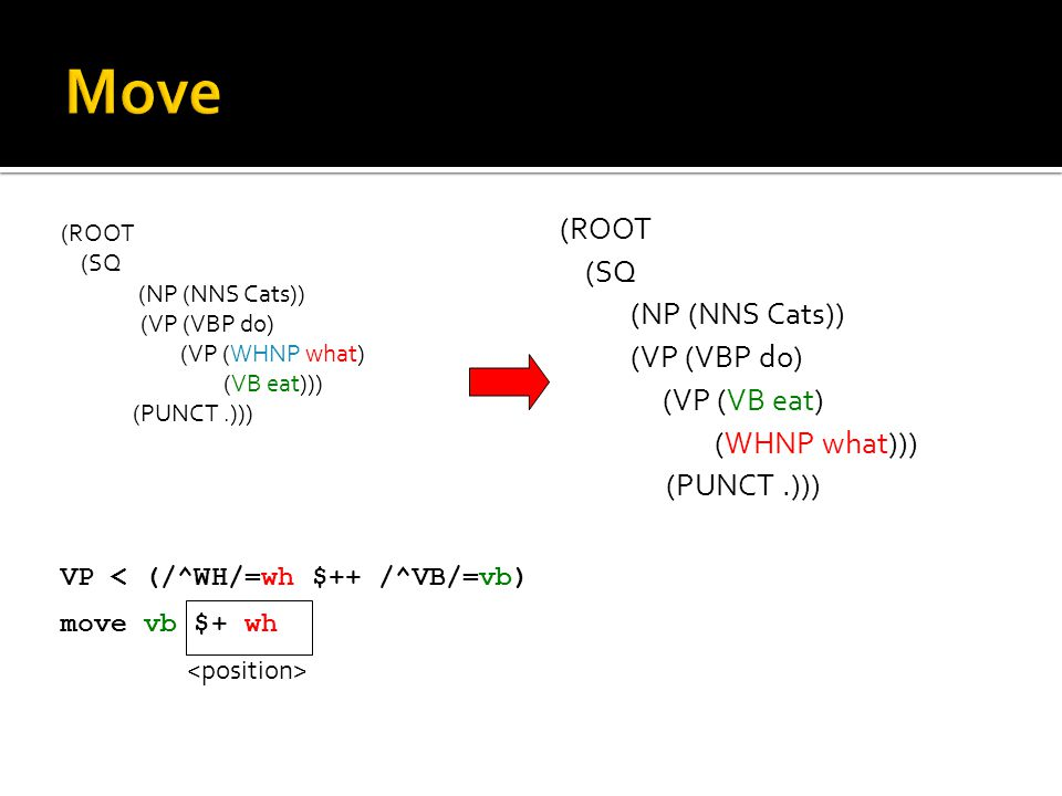 (ROOT (SQ (NP (NNS Cats)) (VP (VBP do) (VP (WHNP what) (VB eat))) (PUNCT.))) VP < (/^WH/=wh $++ /^VB/=vb) move vb $+ wh (ROOT (SQ (NP (NNS Cats)) (VP (VBP do) (VP (VB eat) (WHNP what))) (PUNCT.)))