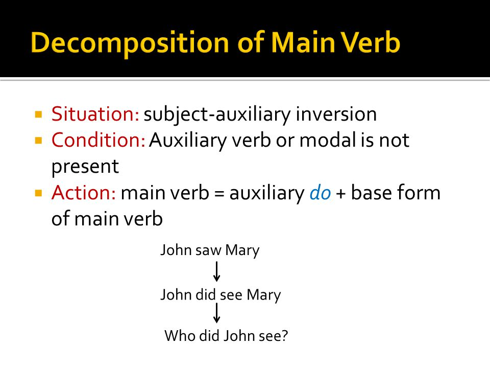  Situation: subject-auxiliary inversion  Condition: Auxiliary verb or modal is not present  Action: main verb = auxiliary do + base form of main ve