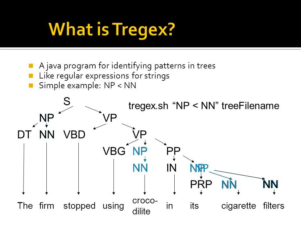  The basic units of Tregex are Node Descriptions  Descriptions match node labels of a tree  Literal string to match: NP ▪ Disjunction of literal strings separated by '|': NP|PP|VP  Regular Expression (Java 5 regex): /NN.?/ ▪ Matches NN, NNP, NNS  Wildcard symbol: __ (two underscores) ▪ Matches any node  Descriptions can be negated with !: !NP