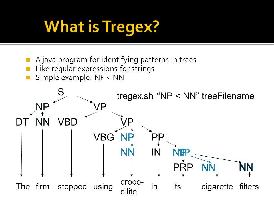 utility for identifying patterns in trees (like regular expressions for strings) node descriptions and relationships between nodes NP < /^NN/ NP NN filterscigaretteitsin croco- dilite usingstoppedfirmThe PRP IN PPVBG VPVBDDT VP S NN NP NN NP NNS