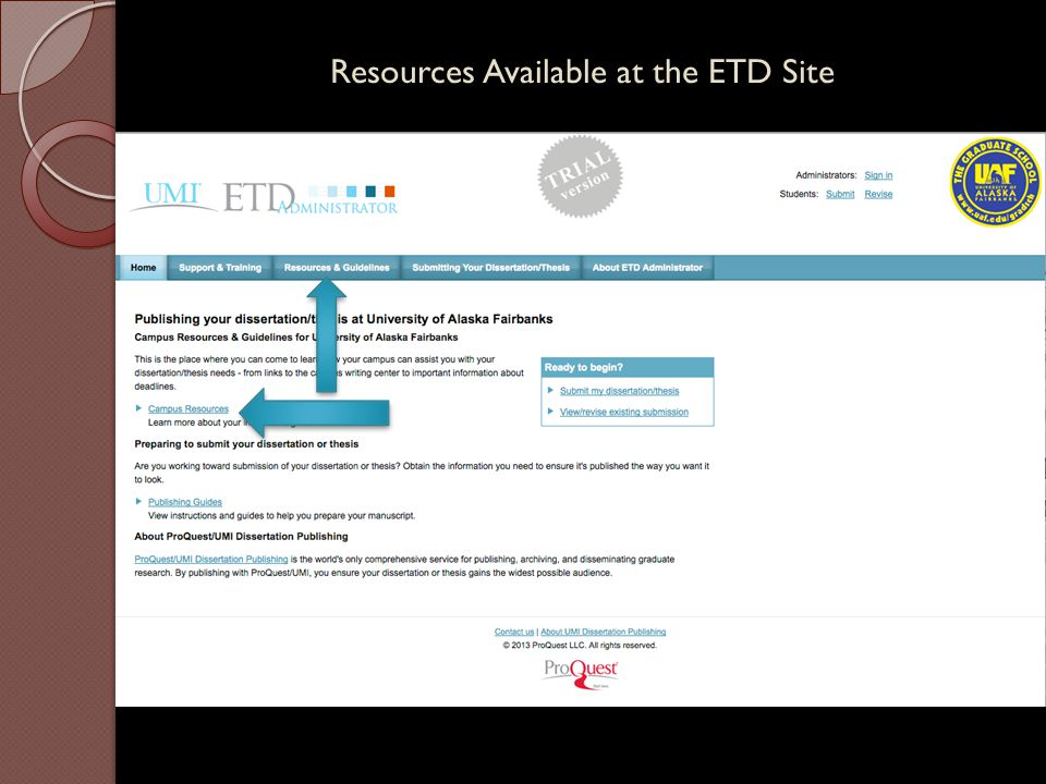Resources Available at the ETD Site