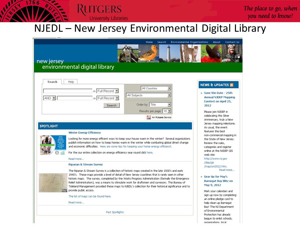 NJEDL – New Jersey Environmental Digital Library