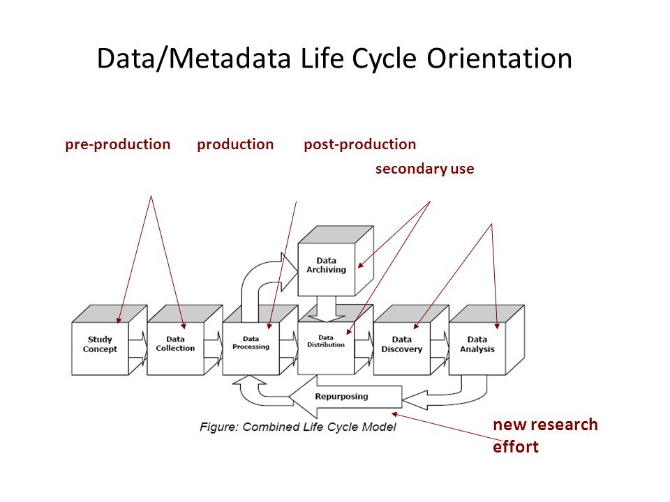 Data/Metadata Life Cycle Orientation pre-production production post-production secondary use new research effort