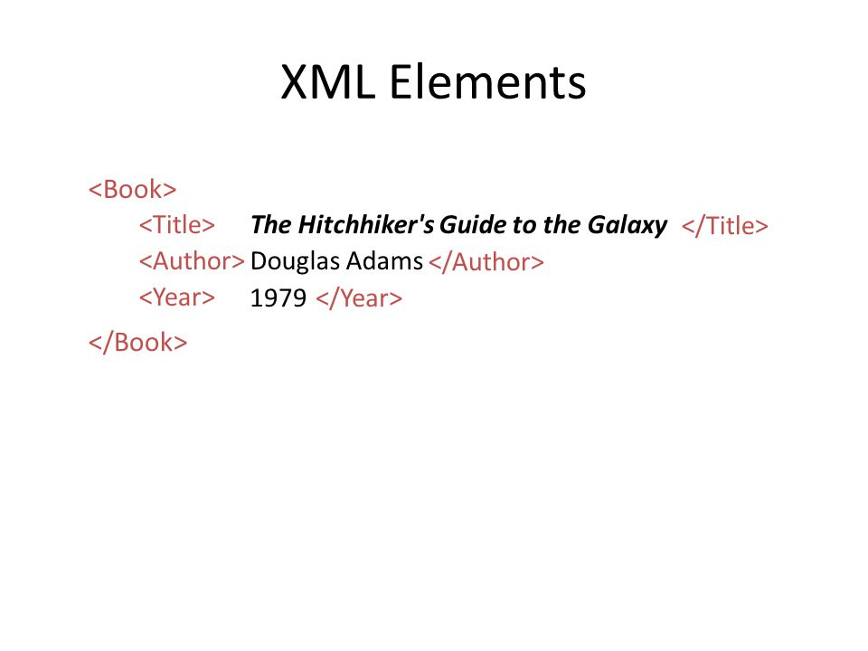 XML Elements The Hitchhiker s Guide to the Galaxy Douglas Adams 1979
