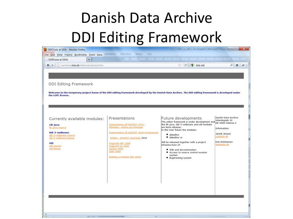 Danish Data Archive DDI Editing Framework