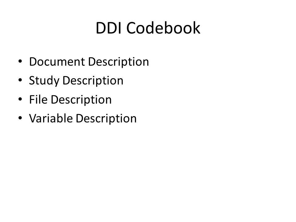 DDI Codebook Document Description Study Description File Description Variable Description