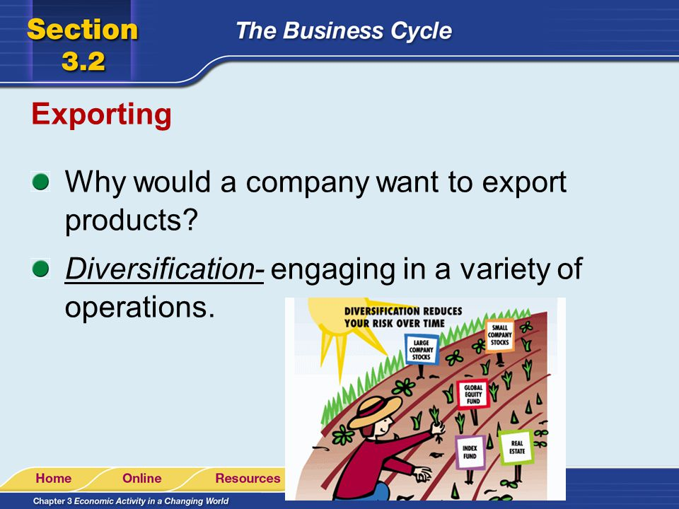 Exporting Why would a company want to export products.