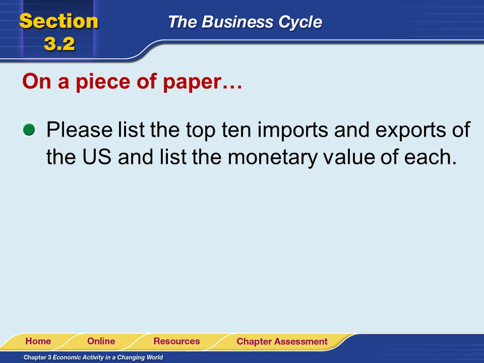 On a piece of paper… Please list the top ten imports and exports of the US and list the monetary value of each.
