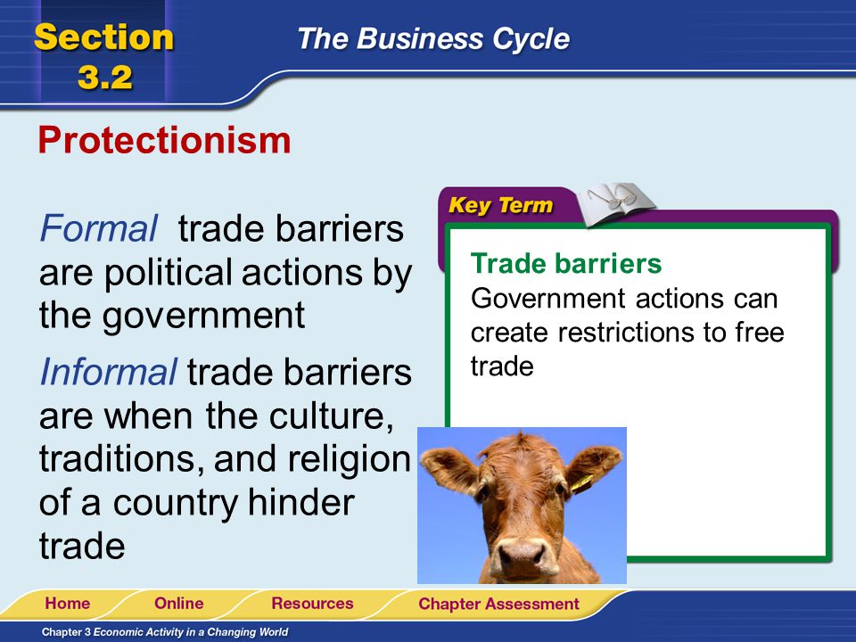Protectionism Trade barriers Government actions can create restrictions to free trade Formal trade barriers are political actions by the government Informal trade barriers are when the culture, traditions, and religion of a country hinder trade
