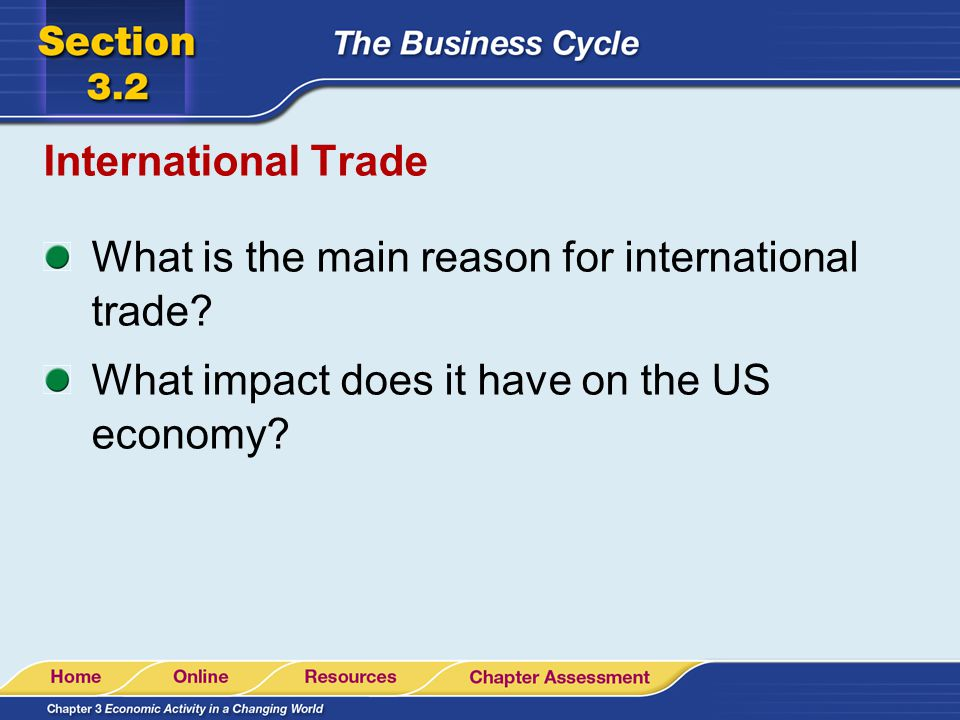 International Trade What is the main reason for international trade.