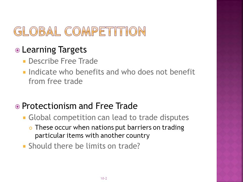  Protectionism The practice of the government putting limits on foreign trade to protect businesses at home.