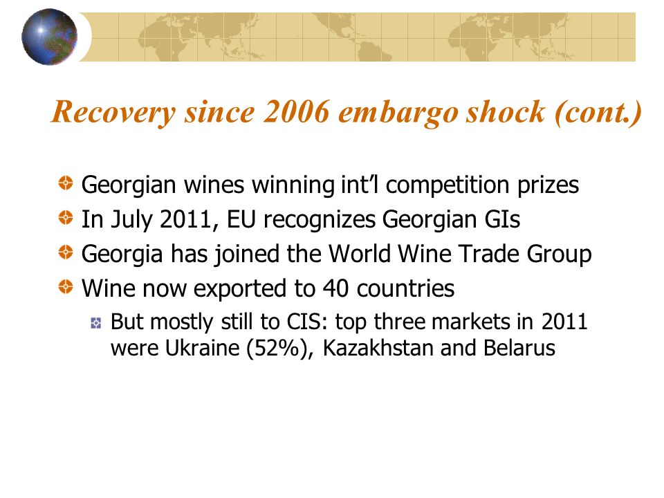 Recovery since 2006 embargo shock (cont.) Georgian wines winning int'l competition prizes In July 2011, EU recognizes Georgian GIs Georgia has joined the World Wine Trade Group Wine now exported to 40 countries But mostly still to CIS: top three markets in 2011 were Ukraine (52%), Kazakhstan and Belarus