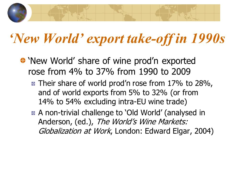 Meanwhile, in Georgia … Georgia has long been a wine exporter Has world's highest wine 'revealed' comparative advantage index after Moldova But it exports only to neighboring countries Especially to Russia over the past 200 years but mainly low-quality semi-sweet red wine in Soviet era Even after fall of Soviet Union, 70-85% of Georgian wine exports went to Russia … … until ban was imposed from late March 2006 In 2010, <10% to non-FSU (Ukraine: 52%)