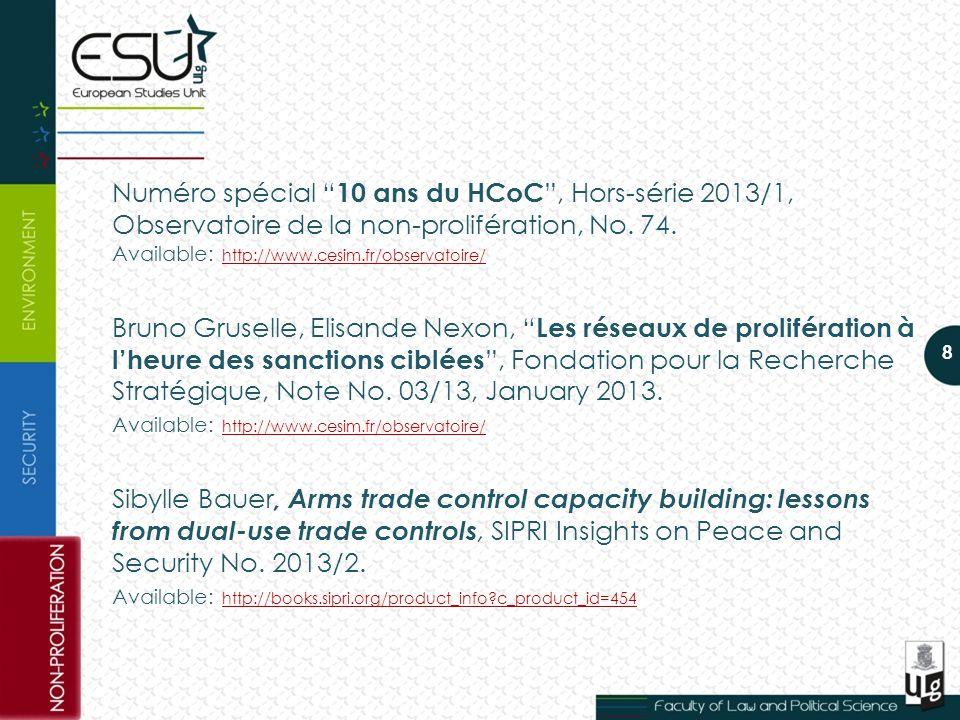 Numéro spécial 10 ans du HCoC , Hors-série 2013/1, Observatoire de la non-prolifération, No.