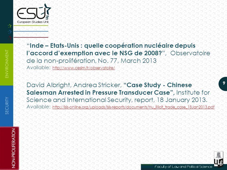 Inde – Etats-Unis : quelle coopération nucléaire depuis l'accord d'exemption avec le NSG de 2008.