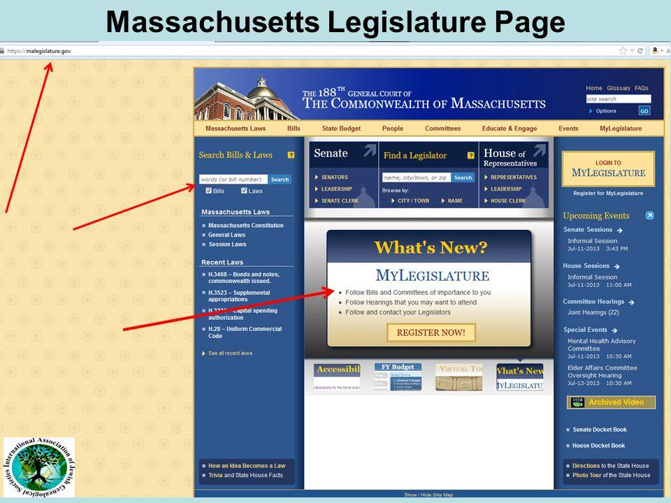 Massachusetts Legislature Page