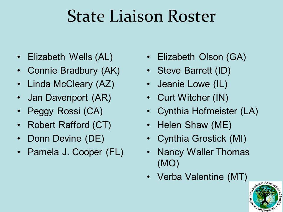 State Liaison Roster Elizabeth Wells (AL) Connie Bradbury (AK) Linda McCleary (AZ) Jan Davenport (AR) Peggy Rossi (CA) Robert Rafford (CT) Donn Devine (DE) Pamela J.