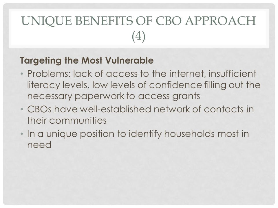 UNIQUE BENEFITS OF CBO APPROACH (4) Targeting the Most Vulnerable Problems: lack of access to the internet, insufficient literacy levels, low levels o