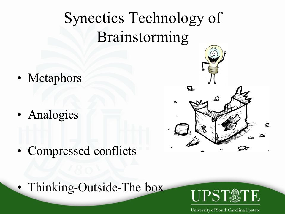 Synectics Technology of Brainstorming Metaphors Analogies Compressed conflicts Thinking-Outside-The box