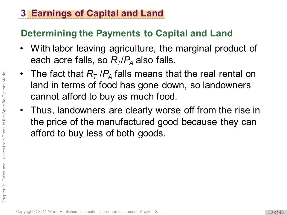 30 of 46 Copyright © 2011 Worth Publishers· International Economics· Feenstra/Taylor, 2/e.