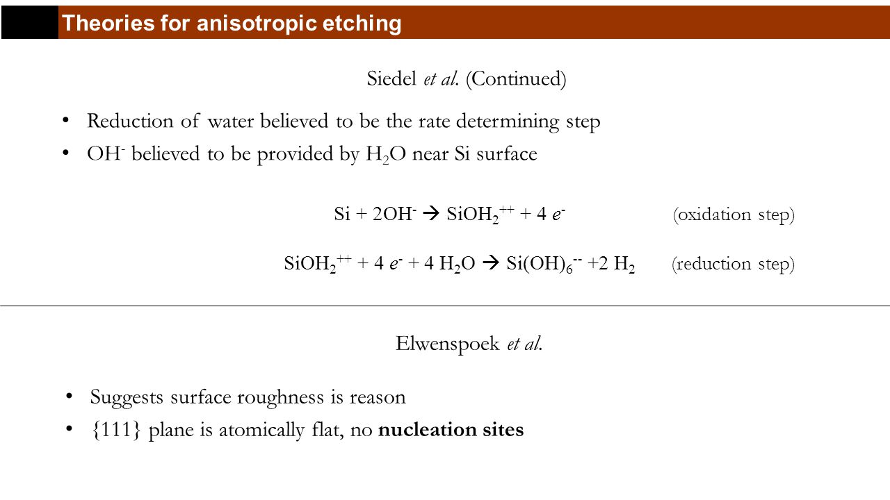 Theories for anisotropic etching Siedel et al.