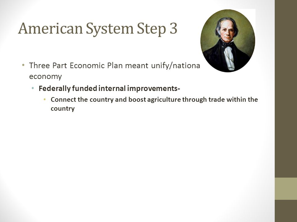 American System Step 3 Three Part Economic Plan meant unify/nationalize the U.S.