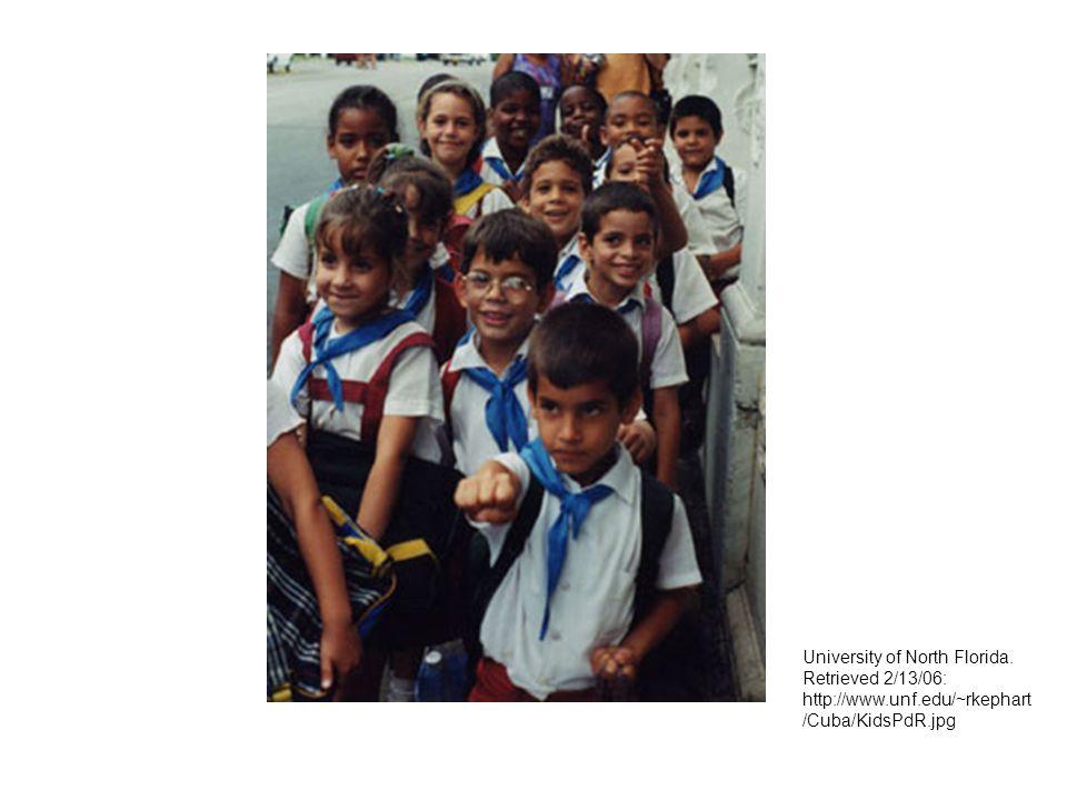 University of North Florida. Retrieved 2/13/06: http://www.unf.edu/~rkephart /Cuba/KidsPdR.jpg