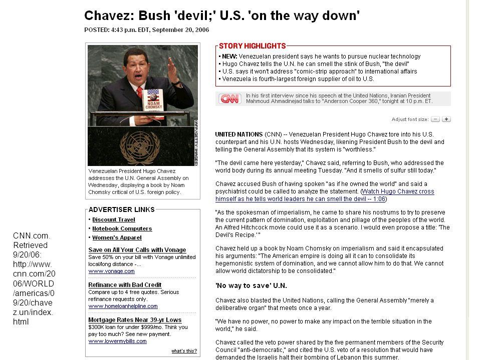 CNN.com. Retrieved 9/20/06: http://www. cnn.com/20 06/WORLD /americas/0 9/20/chave z.un/index. html