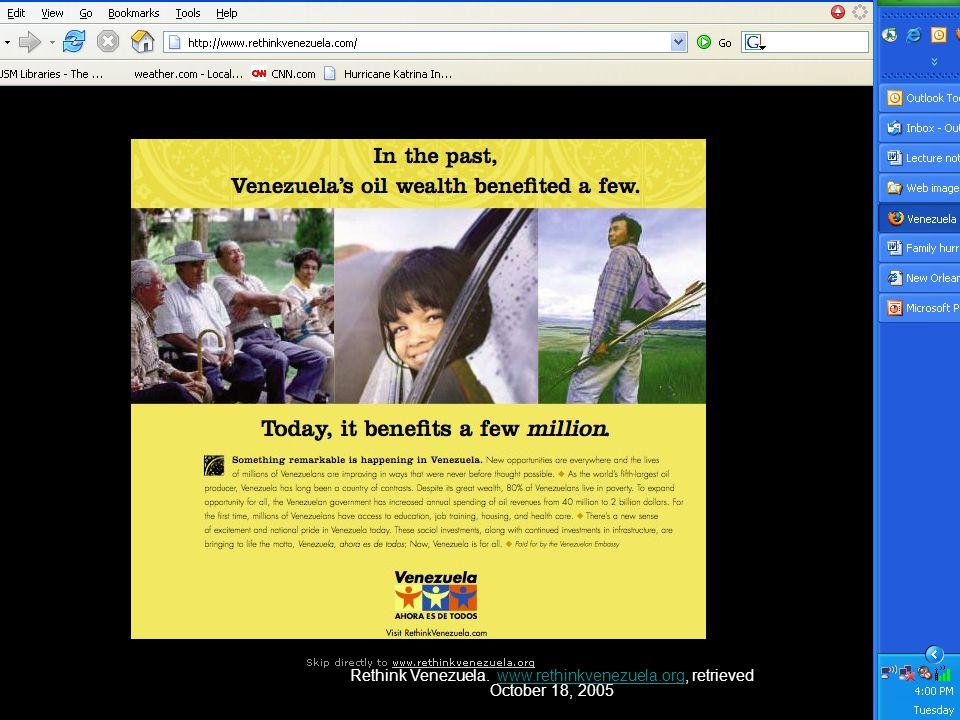 Rethink Venezuela. www.rethinkvenezuela.org, retrieved October 18, 2005www.rethinkvenezuela.org