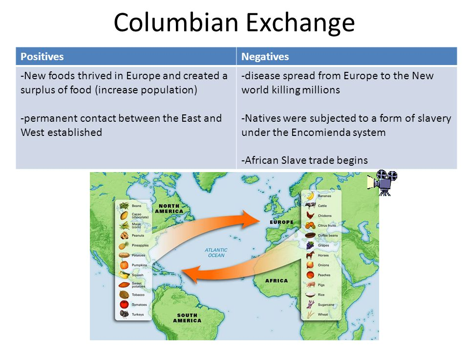 Columbian Exchange PositivesNegatives -New foods thrived in Europe and created a surplus of food (increase population) -permanent contact between the East and West established -disease spread from Europe to the New world killing millions -Natives were subjected to a form of slavery under the Encomienda system -African Slave trade begins