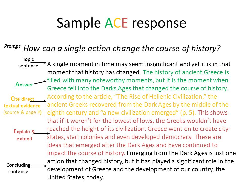 Sample ACE response How can a single action change the course of history? A single moment in time may seem insignificant and yet it is in that moment