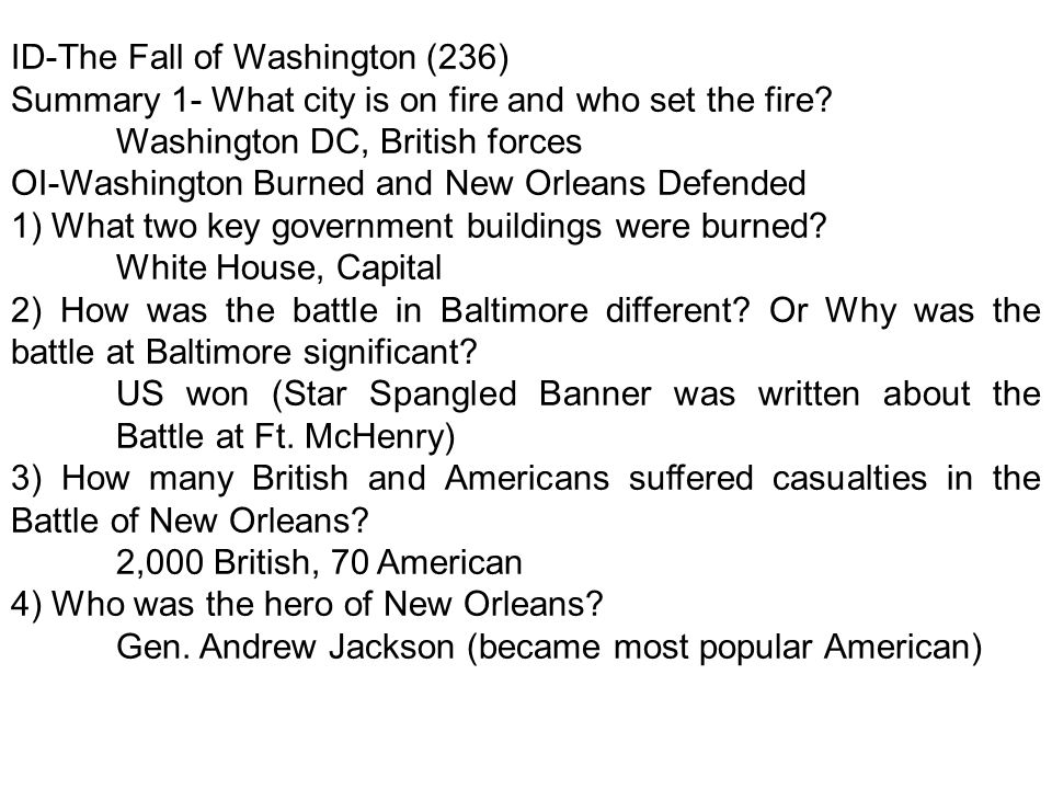 ID-The Fall of Washington (236) Summary 1- What city is on fire and who set the fire.
