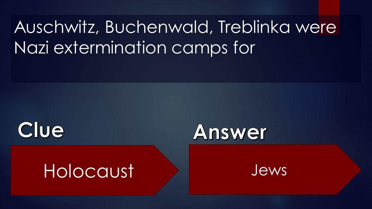 Auschwitz, Buchenwald, Treblinka were Nazi extermination camps for Holocaust Jews
