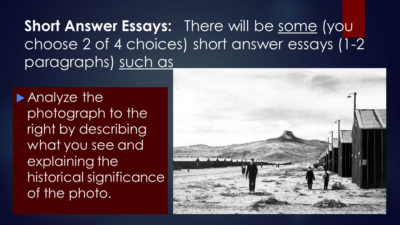 Short Answer Essays: There will be some (you choose 2 of 4 choices) short answer essays (1-2 paragraphs) such as  Analyze the photograph to the right