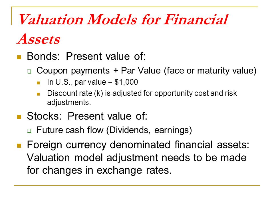 Valuation Models for Financial Assets Bonds: Present value of:  Coupon payments + Par Value (face or maturity value) In U.S., par value = $1,000 Discount rate (k) is adjusted for opportunity cost and risk adjustments.