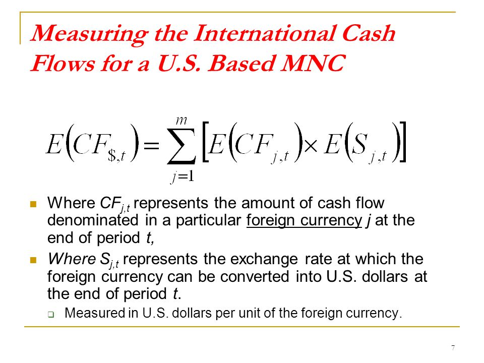 Measuring the International Cash Flows for a U.S.