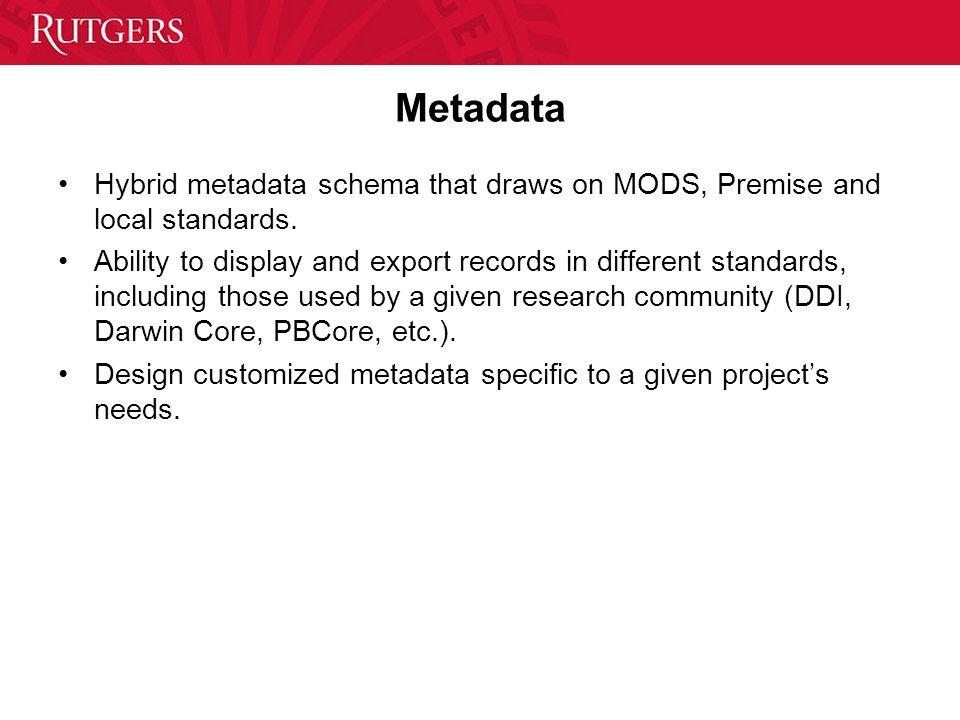 Metadata Hybrid metadata schema that draws on MODS, Premise and local standards.