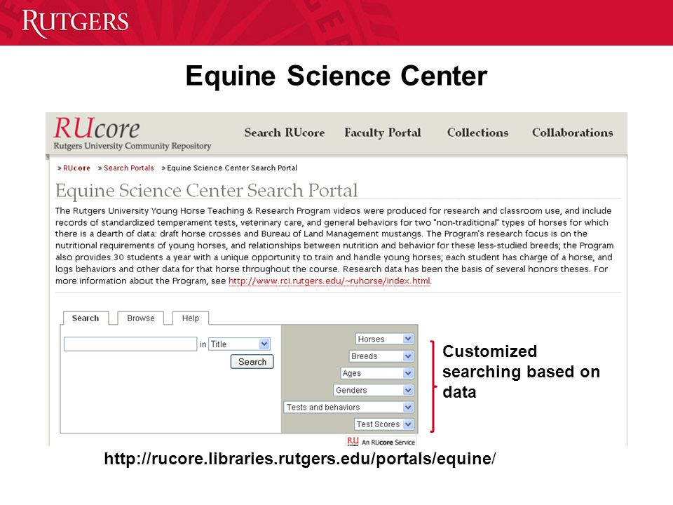 Equine Science Center http://rucore.libraries.rutgers.edu/portals/equine/ Customized searching based on data