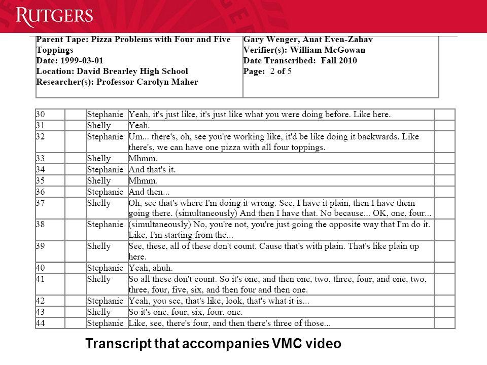 Transcript that accompanies VMC video