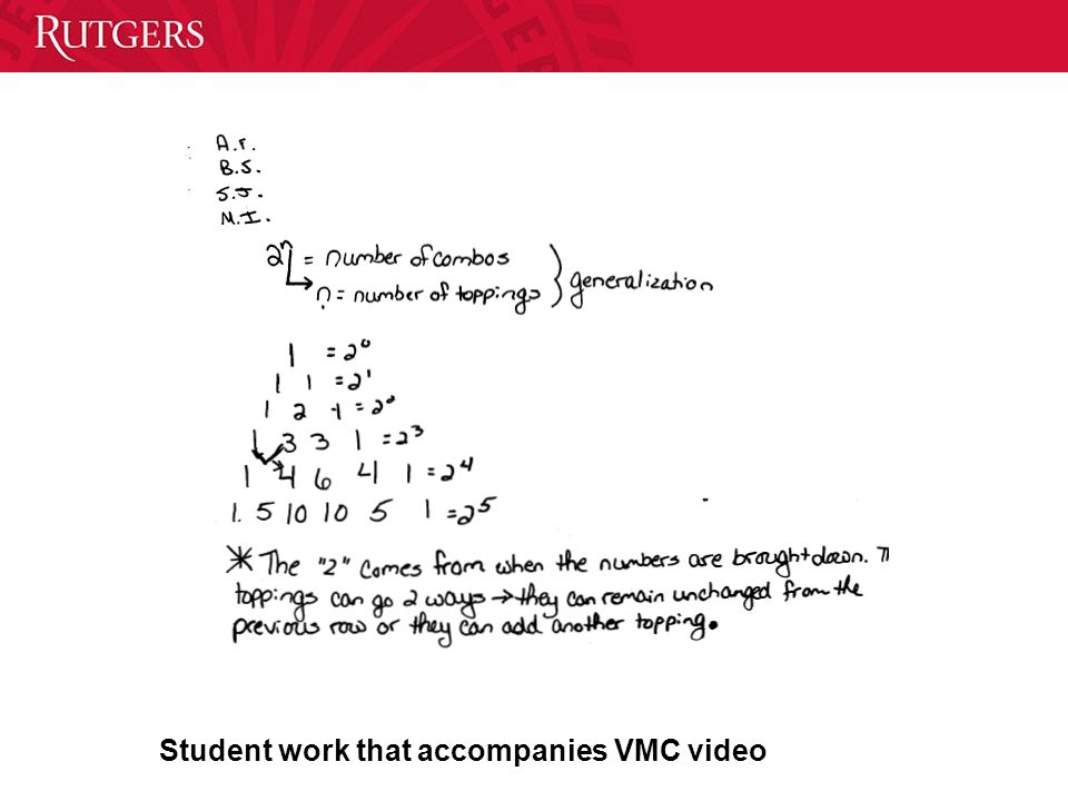 Student work that accompanies VMC video