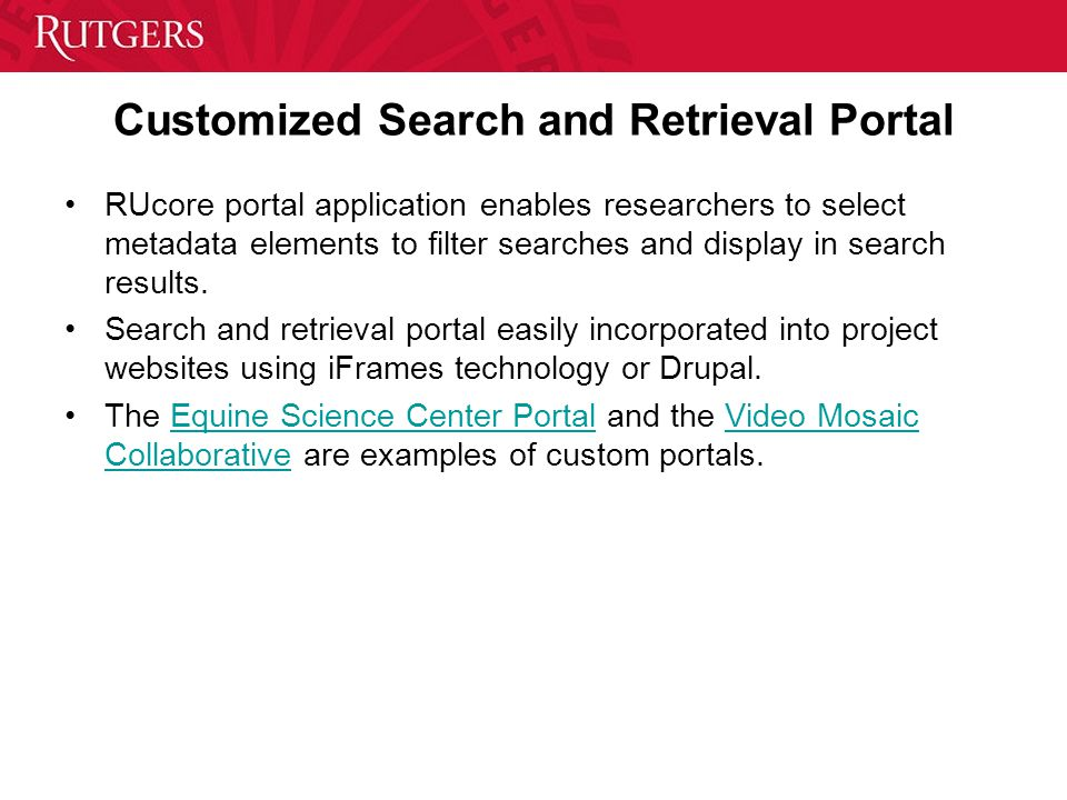 Customized Search and Retrieval Portal RUcore portal application enables researchers to select metadata elements to filter searches and display in search results.