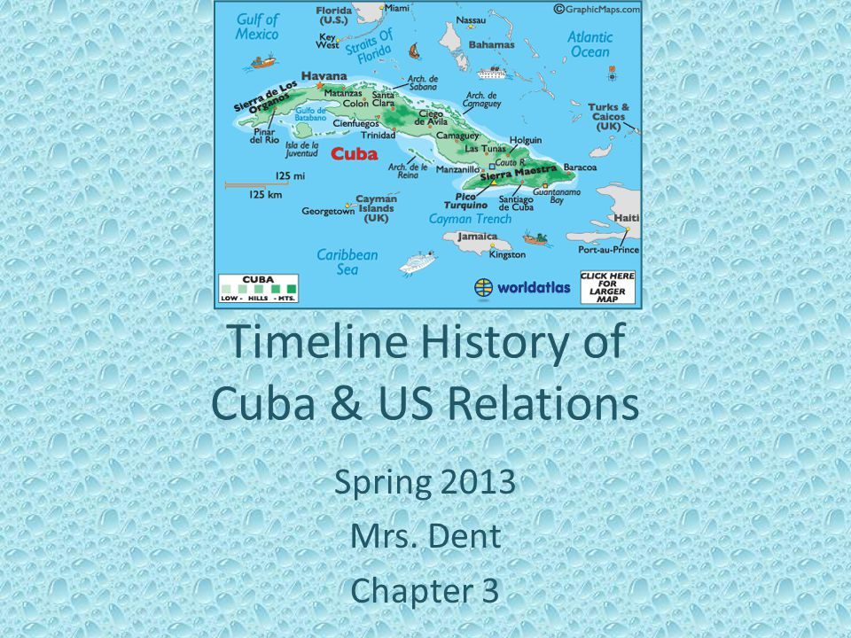 Timeline History of Cuba & US Relations Spring 2013 Mrs. Dent Chapter 3