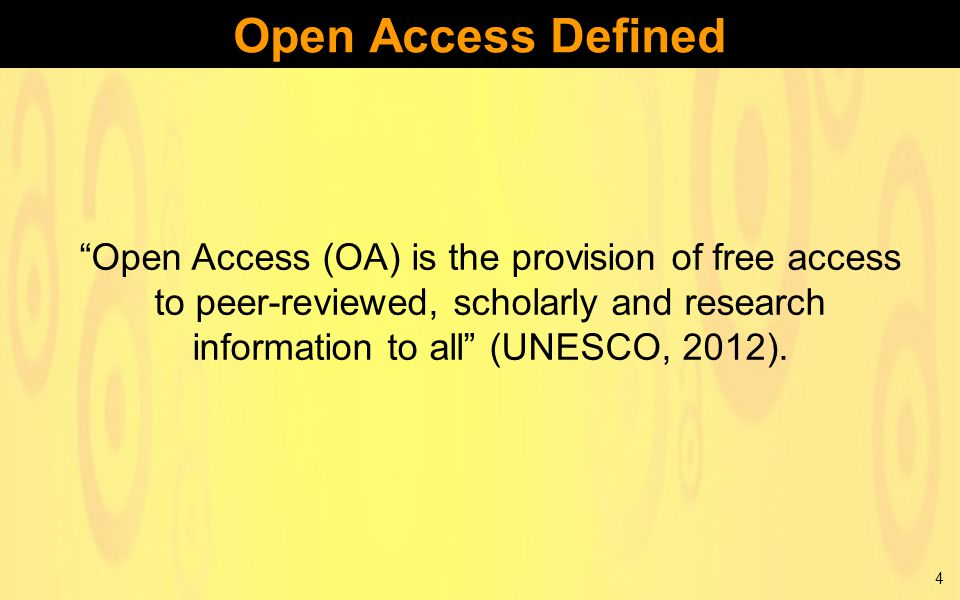 Open Access (OA) is the provision of free access to peer-reviewed, scholarly and research information to all (UNESCO, 2012).