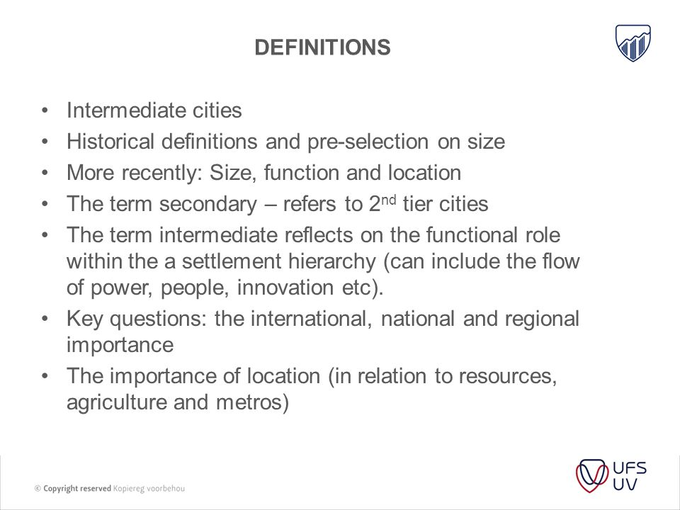 TOWARDS A DEFINITION Baloy and Rabinovich summarise the role of intermediate cities in the following way: To conclude, we may say that the cities we studied, and by extension a number of urban agglomerations, have a double affiliation: their intermediate function on the one hand, their position of medium-sized town within the urban hierarchy on the other....
